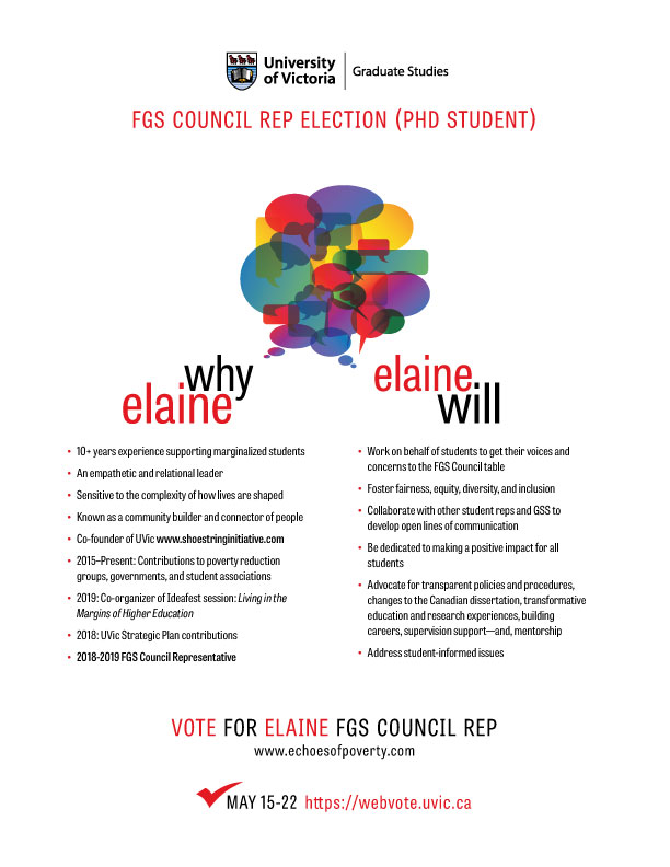 Elaine for UVic FGS Council Student Rep – Echoes of Poverty